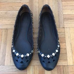 Tory Burch Kingsbridge black studded flats